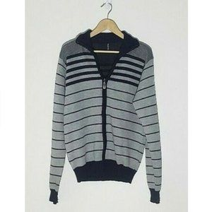 Zip Up Long Sleeve Striped Sweater Large